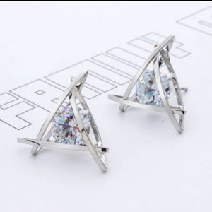 NEW pair of triangle silver tone crystal earrings